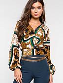 billige Bluser-Skjorte Dame - Ruter, Trykt mønster Vintage Grønn