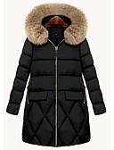 olcso Női hosszú kabátok és parkák-Női Egyszínű Anorák, Poliészter Fekete L / XL / XXL / Bő