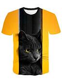 ราคาถูก เสื้อยืดและเสื้อกล้ามผู้ชาย-สำหรับผู้ชาย ขนาดพิเศษ เสื้อเชิร์ต Street Chic รอยจีบ / ลายพิมพ์ คอกลม 3D / กราฟฟิค Black & White สีเหลือง / แขนสั้น