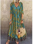 baratos Camisas Femininas-Mulheres Elegante Evasê Vestido - Paetês Estampado, Floral Decote em V Profundo Longo