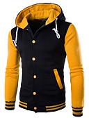 billige Skjorter-Herre Fritid / Grunnleggende Hattetrøje Ensfarget / Fargeblokk