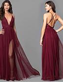 Χαμηλού Κόστους Φορέματα Παρανύμφων-Γραμμή Α Λεπτές Τιράντες Μάξι Σιφόν Φόρεμα Παρανύμφων με Βαθμίδες με LAN TING Express