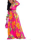 Χαμηλού Κόστους Casual Φορέματα-Γυναικεία Μπόχο Κομψό στυλ street Σε γραμμή Α Swing Φόρεμα - Φλοράλ Καρό Μακρύ