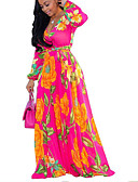 baratos Vestidos Estampados-Mulheres Boho Moda de Rua Reto balanço Vestido Floral Xadrez Longo
