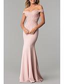 Χαμηλού Κόστους Φορέματα Χορού Αποφοίτησης-Τρομπέτα / Γοργόνα Ώμοι Έξω Ουρά Σιφόν / Δαντέλα Ανοικτή Πλάτη Επίσημο Βραδινό Φόρεμα 2020 με Διακοσμητικά Επιράμματα
