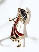 baratos Trench Coats e Casacos Femininos-Mulheres Broches Princesa Guarda-Chuvas Estilo bonito Broche Jóias Dourado Para Diário