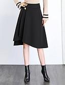 Χαμηλού Κόστους Γυναικείες Φούστες-Γυναικεία Μεγάλα Μεγέθη Γραμμή Α Βασικό Ασύμμετρο Φούστες - Μονόχρωμο Μαύρο M L XL