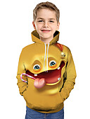 baratos Moletons Para Meninos-Infantil Bébé Para Meninos Activo Básico Feras Fantásticas Geométrica Galáxia Estampado Estampado Manga Longa Moleton & Blusa de Frio Amarelo