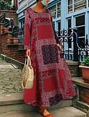 baratos Vestidos Longos-Mulheres Tamanhos Grandes Básico Algodão Solto Evasê Vestido Geométrica Longo