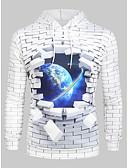 Χαμηλού Κόστους Ανδρικά μπλουζάκια και φανελάκια-Ανδρικά Μέγεθος EU / US Μπουφάν με Κουκούλα και Φούτερ Βασικό 3D Με Κουκούλα Στάμπα Λευκό / Μακρυμάνικο