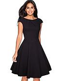 baratos Vestidos Vintage-Mulheres Sofisticado Elegante Evasê Vestidinho Preto Rodado Vestido - Franzido, Sólido Altura dos Joelhos