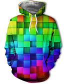 cheap Men's Clothing-Men's Casual / Street chic Hoodie - Polka Dot / Color Block / 3D Rainbow US32 / UK32 / EU40