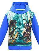 Χαμηλού Κόστους Μπλούζα-Παιδιά Αγορίστικα Βασικό Δεινόσαυρος Στάμπα Στάμπα Μακρυμάνικο Μπλούζα με Κουκούλα & Φούτερ Μαύρο
