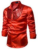 baratos Camisas Masculinas-Homens Camisa Social Básico Paetês, Sólido Azul / Vermelho Preto