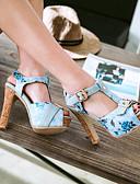 ราคาถูก หมวกสตรี-สำหรับผู้หญิง รองเท้าแตะ ส้นหนา ที่สวมนิ้วเท้า หัวเข็มขัด PU หวาน / minimalism ฤดูใบไม้ผลิ & ฤดูใบไม้ร่วง / ฤดูร้อนฤดูใบไม้ผลิ สีดำ / ขาว / ฟ้า