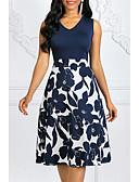Χαμηλού Κόστους Μίνι Φορέματα-Γυναικεία Μεγάλα Μεγέθη Εξόδου Βίντατζ Δεκαετία του 1950 Βαμβάκι Γραμμή Α Φόρεμα - Πουά Φλοράλ Στάμπα, Στάμπα Ως το Γόνατο Λαιμόκοψη V