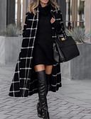 baratos Trench Coats Femininos-Mulheres Diário Outono & inverno Longo Casaco, Xadrez Gola Enrolada Manga Longa Poliéster Preto