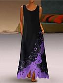 お買い得  イブニングドレス-女性用 スウィング ドレス 幾何学模様 マキシ Vネック