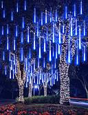 billige Eksotisk herreundertøy-4 pakke 30 cm x 8 12-tommers strenglys 576 led fallende meteor regnlys til høytidsfest juletre dekorasjon vanntett us eu plug uk adapter