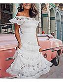baratos Vestidos de Festa-Mulheres Básico balanço Vestido - Renda Com Corte, Sólido Ombro a Ombro Assimétrico