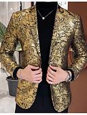 ราคาถูก เบลเซอร์ &สูทผู้ชาย-สำหรับผู้ชาย เสื้อคลุมสุภาพ ปกคอแบะของเสื้อแบบน็อตช์ ฝ้าย / เส้นใยสังเคราะห์ สีทอง / สีดำ