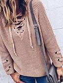 billige Gensere til damer-Dame Ensfarget Langermet Store størrelser Pullover Genserjumper, Dyp V Svart / Vin / Lyseblå S / M / L
