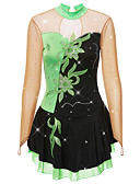 זול חדר כושר-שמלה להחלקה אמנותית בגדי ריקוד נשים בנות החלקה על הקרח שמלות שחור / ירוק טלאים ספנדקס חוט נמתח גמישות גבוהה תחרות ביגוד להחלקה על הקרח קלאסי שרוול ארוך החלקה אמנותית