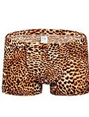 baratos Moda Íntima Exótica para Homens-Homens Básico Cueca Boxer Cintura Média Preto Amarelo Marron M L XL
