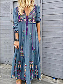 baratos Vestidos Longos-Mulheres Moda de Rua Solto Reto Vestido - Estampado, Floral Decote em V Profundo Longo
