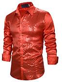 ราคาถูก กางเกงผู้ชาย-สำหรับผู้ชาย เชิร์ต พื้นฐาน ลายเลื่อม สีพื้น Blue / Red สีดำ