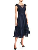 Χαμηλού Κόστους Φορέματα Χορού Αποφοίτησης-Γραμμή Α Με Κόσμημα Κάτω από το γόνατο Δαντέλα Αμάνικο Μεγάλο Μέγεθος Φόρεμα Μητέρας της Νύφης με Κρυστάλλινη λεπτομέρεια / Δαντέλα 2020