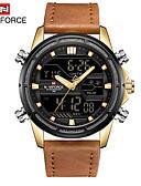 ราคาถูก นาฬิกาข้อมือสายหนัง-NAVIFORCE สำหรับผู้ชาย นาฬิกาแนวสปอร์ต นาฬิกาอิเล็กทรอนิกส์ (Quartz) กีฬา หนัง ดำ / ฟ้า 30 m เท่ห์ ระบบอนาล็อก ภายนอก - Rose Gold สีทอง แดง หนึ่งปี อายุการใช้งานแบตเตอรี่
