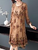billige Romantiske blonder-Dame Store størrelser Sofistikert Elegant A-linje Kjole - Blomstret, Blonde Drapering Broderi Midi Orangutang Rose Magiske kuber