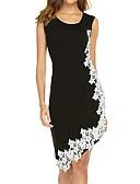 billige Romantiske blonder-Dame Elegant Skjede Kjole - Ensfarget, Blonde Asymmetrisk / Store størrelser