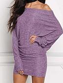 baratos Mini Vestidos-Mulheres Moda de Rua Punk & Góticas Tubinho Bainha Tricô Vestido Listrado Estampa Colorida Mini
