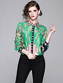 baratos Camisas Femininas-Mulheres Camisa Social Vintage / Elegante Estampado, Xadrez Verde