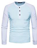 ราคาถูก เสื้อโปโลสำหรับผู้ชาย-สำหรับผู้ชาย เสื้อเชิร์ต คอกลม ลายบล็อคสี สีดำ / แขนยาว