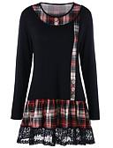 billige T-skjorter til damer-T-skjorte Dame - Ensfarget / Ruter, Blonde / Lapper Grunnleggende Svart