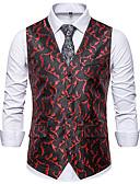 """זול חולצות פולו לגברים-בגדי ריקוד גברים שחור אודם סגול US36 / UK36 / EU44 US40 / UK40 / EU48 US42 / UK42 / EU50 וסט האיחוד האירופי / ארה""""ב גודל פרחוני צווארון V רזה"""