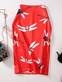 baratos Mini Vestidos-Mulheres Bodycon Saias - Floral Estampado Vermelho L XL XXL