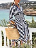 povoljno Vintage kraljica-Žene Korice Haljina Prugasti uzorak Do koljena