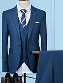 baratos Ternos & Blazers Masculinos-Homens Ternos / Conjuntos, Sólido Lapela Chanfrada Raiom / Poliéster Cinzento / Vinho / Azul Real