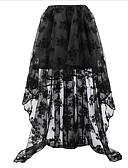 זול חצאיות לנשים-אחיד - חצאיות גזרת A וינטאג' מידות גדולות בגדי ריקוד נשים שחור לבן אודם S M L / תחרה / א-סימטרי