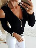 Χαμηλού Κόστους T-shirt-Γυναικεία Μπλούζα Μονόχρωμο Λαιμόκοψη V Μαύρο