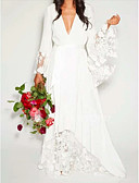 baratos Vestidos de Coquetel-Linha A Decote V Longo Chiffon / Renda Manga Longa Casual Detalhe da Ilusão Vestidos de casamento feitos à medida com Aplicação de renda 2020