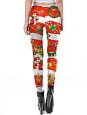 baratos Calças Femininas-Mulheres Natal Estampada Legging - Estampado Cintura Média Vermelho S M L / Delgado