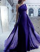 Χαμηλού Κόστους Βραδινά Φορέματα-Τρομπέτα / Γοργόνα Ένας Ώμος Ουρά Σιφόν Φόρεμα Παρανύμφων με Πλισέ / Ανοικτή Πλάτη
