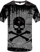 baratos Camisetas & Regatas Masculinas-Homens Camiseta Vintage Estampado, Caveiras Cinza Claro