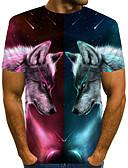 ราคาถูก เสื้อยืดและเสื้อกล้ามผู้ชาย-สำหรับผู้ชาย ขนาดของยุโรป / อเมริกา เสื้อเชิร์ต Street Chic / ที่พูดเกินจริง ลายพิมพ์ คอกลม ลายบล็อคสี / 3D / สัตว์ Wolf สายรุ้ง / แขนสั้น