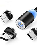 billige Mobiltelefon kabler-magnetkabel flettet led type c mikro usb magnetisk usb ladekabel for apple iphone x 7 8 6 xs maks xr samsung s9 ledning
